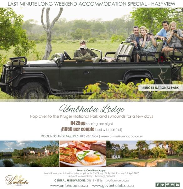 Umbhaba Lodge Kruger Park