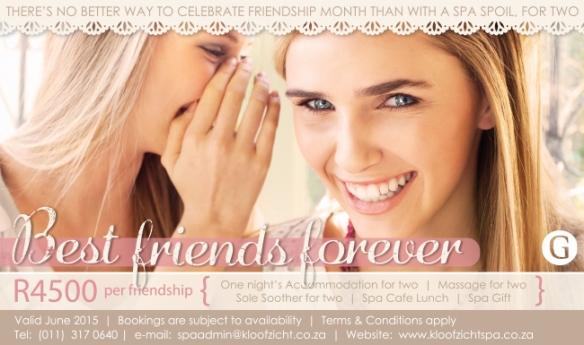 KLoofzicht Spa Best Friends Spa Package 2015