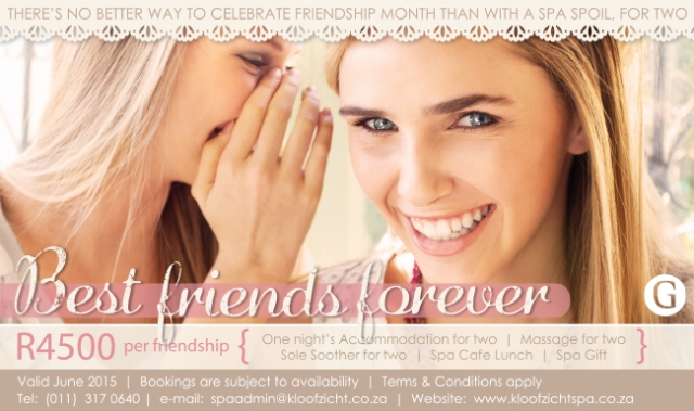 KLoofzicht Spa Best Friends Spa Package 2015