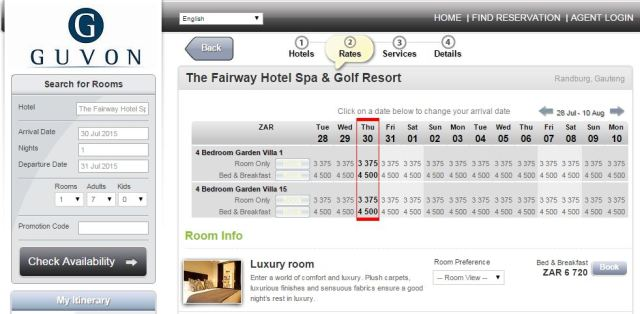 Fairway hotel booking system