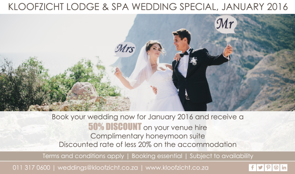 Kloofzicht  Lodge January wedding special