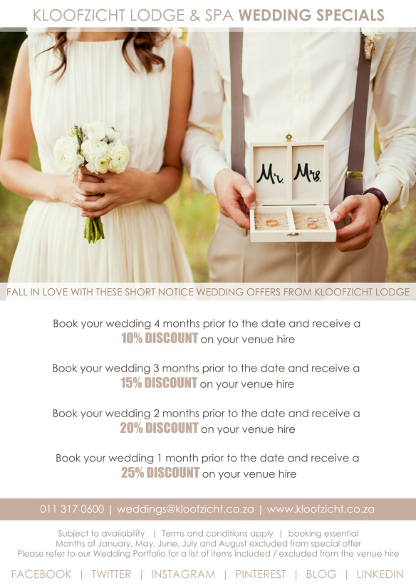 Short notice wedding specials large